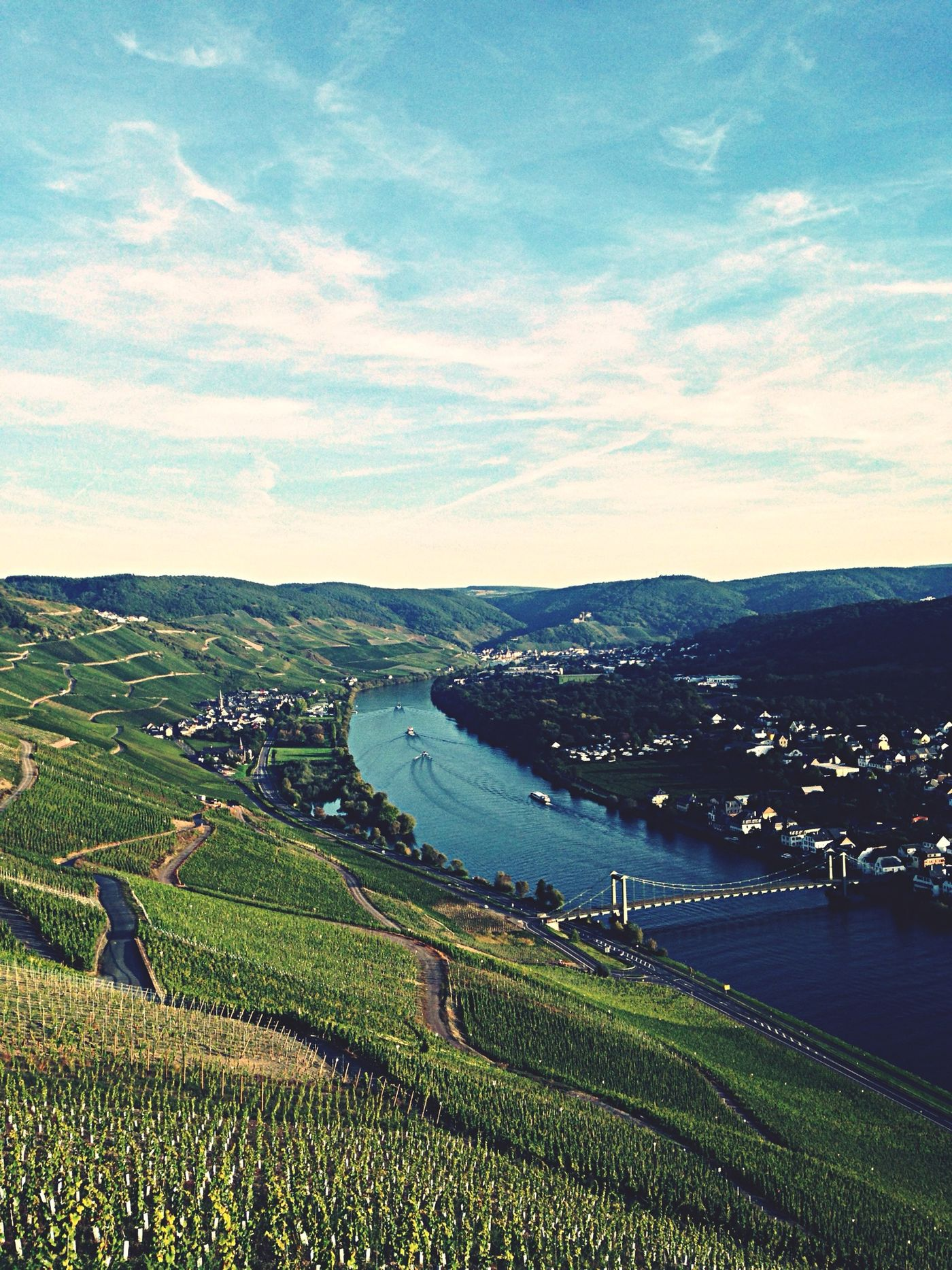 Mosel Vineyard Clouds And Sky River