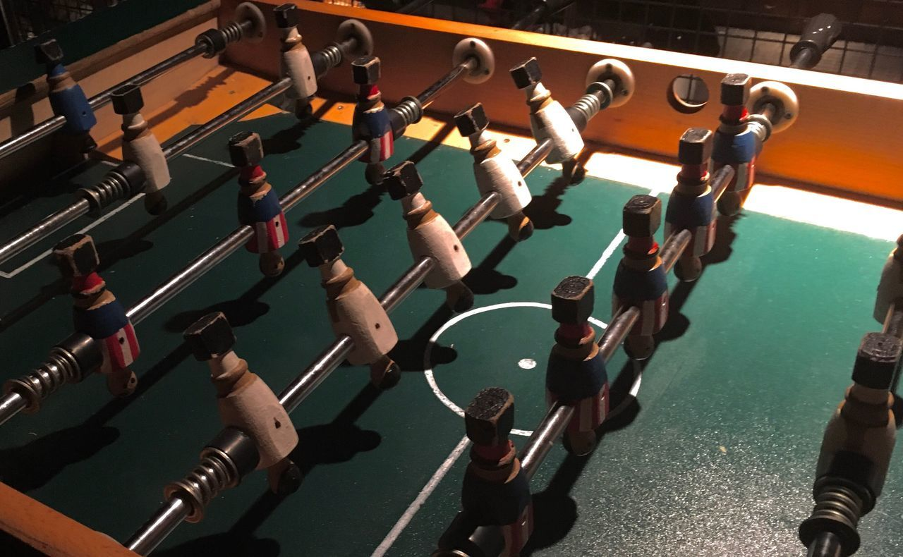 high angle view, model, figurine, indoors, real people, teamwork, competition, day, men, people
