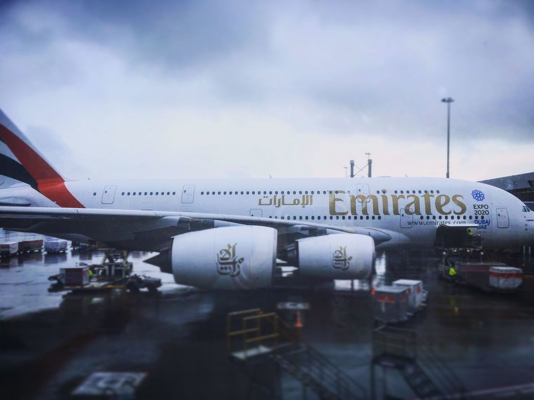Emirates Airbus A380 At Auckland International Airport (AKL) That had flown over to Brisbane Airport Airplane Sky Transportation Mode Of Transport Travel Airport Air Vehicle Commercial Airplane Day Airport Runway Cloud - Sky Outdoors Public Transportation No People Runway Close-up Passenger Boarding Bridge (BNE).