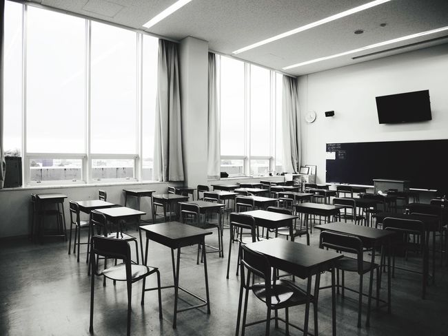 Desk Chair Highschool Nopeople Classroom Afternoon Afterschool  Monochrome Lumix Japan Japan Photography Monochrome Photography