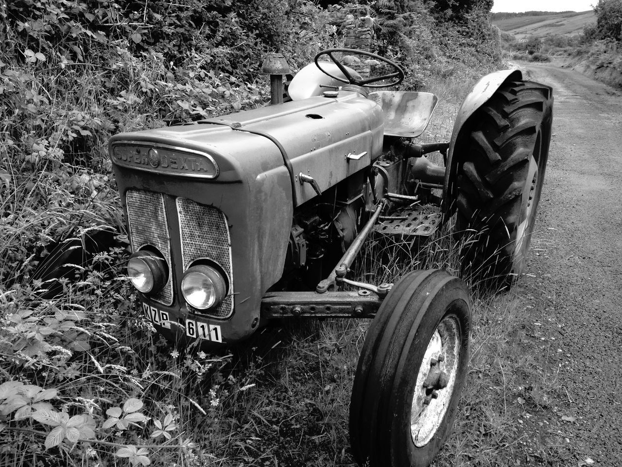 abandoned, obsolete, field, damaged, mode of transport, run-down, transportation, old-fashioned, day, outdoors, no people, land vehicle, plant, growth, grass