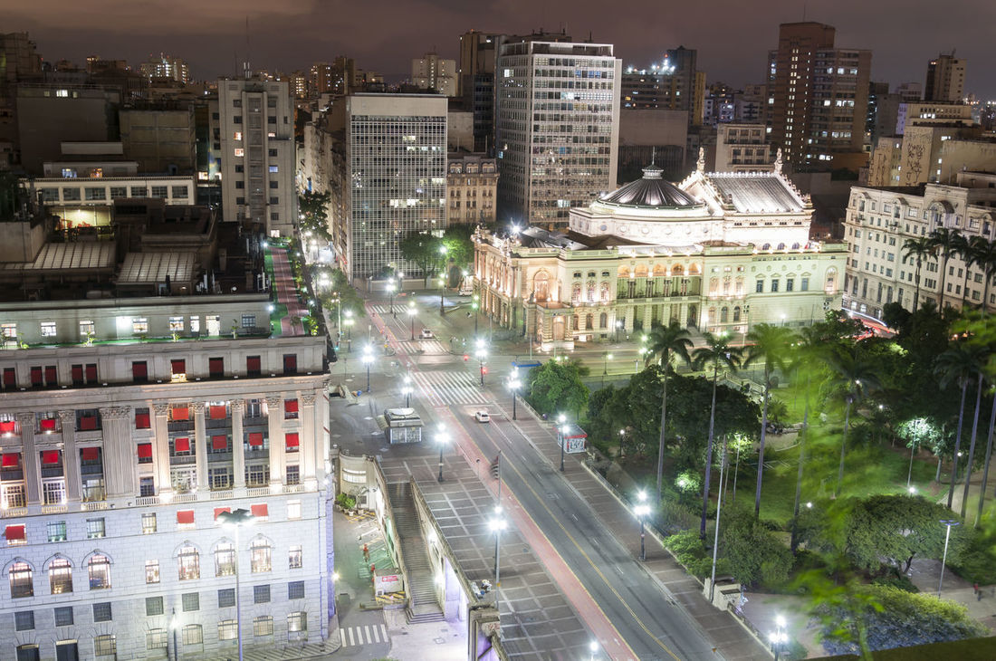 Night view of the city Sao Paulo, municipal theater and light building, Brazil. Brazil Municipal Theater Municipal Theater Of Sao Paul Sao Paulo - Brazil Viaduto Do Cha Architecture Building Exterior City Cityscape Illuminated Light Building Night