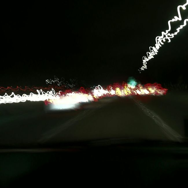 Colour of the night on California highway Illuminated Motion Capture Night Moving Roadway