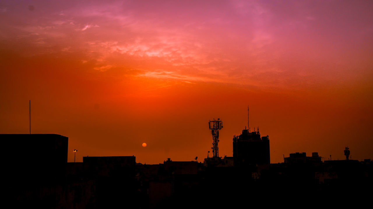 sunset, architecture, orange color, silhouette, building exterior, built structure, city, sky, no people, outdoors, cityscape, industry, factory, nature