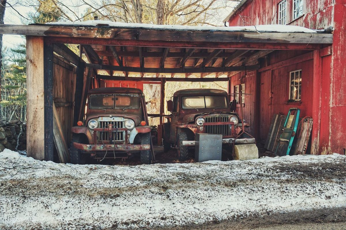 old trucks. Chaplin, Ct Old Barns Antique Winter_collection Snow ❄ Wintertime Forgotten Things Decaying Building Weathered Wood Welcometonewengland This Is New England Red Rusty Rusty Metal Classic Car Old Truck Farm Life Old Equipment Decay Cold Temperature Built Structure Building Exterior No People The Secret Spaces