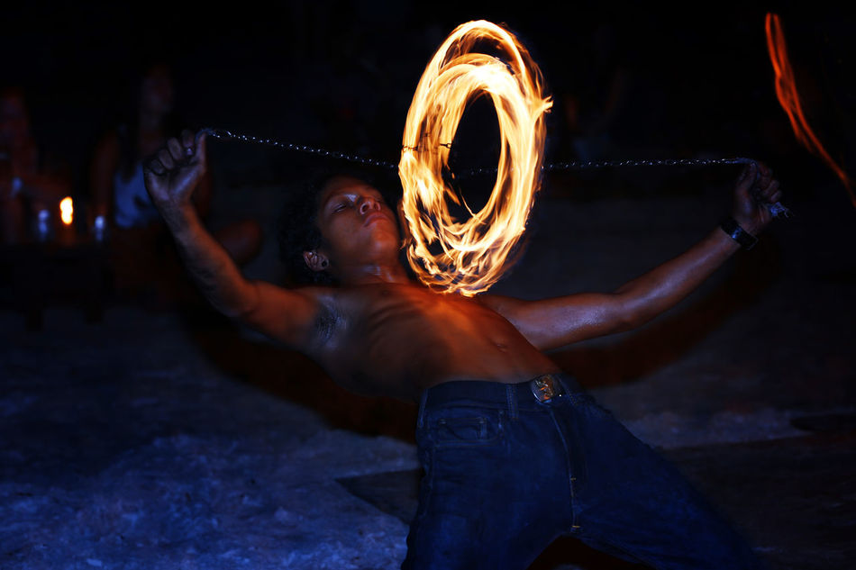 Fires starter Fire Dancer Langkawi Island Malaysia Men Night Night Entertainment Nightlife One Person Pantai Cenang Performance Performing Arts Event Swirling Fire Young Adult