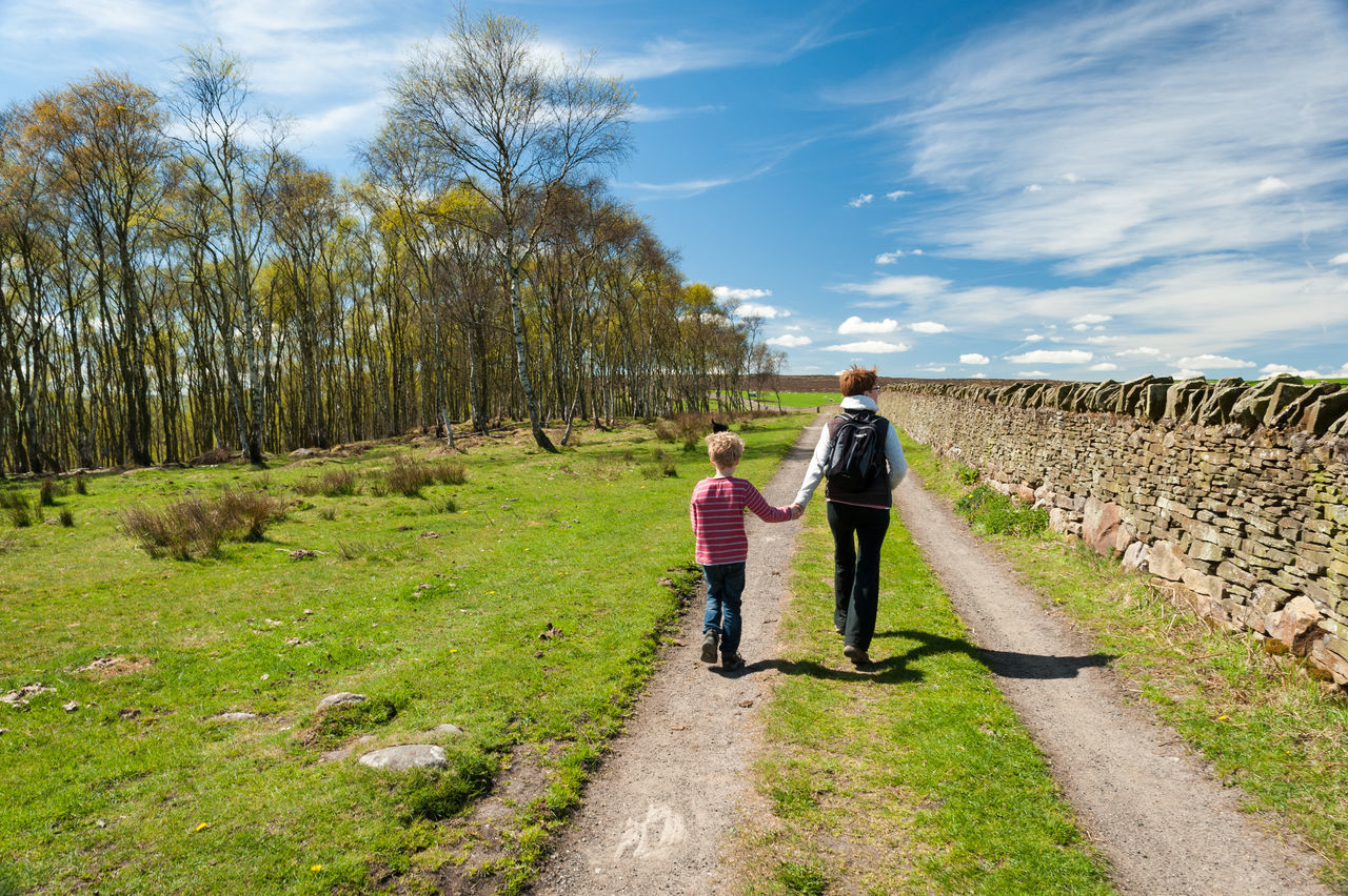 Casual Clothing Child Cloud - Sky Day Derbyshire Family Footpath Grass Green Color Nature Outdoors Peak District  Rear View Sky The Way Forward Togetherness Trees Walking Woman