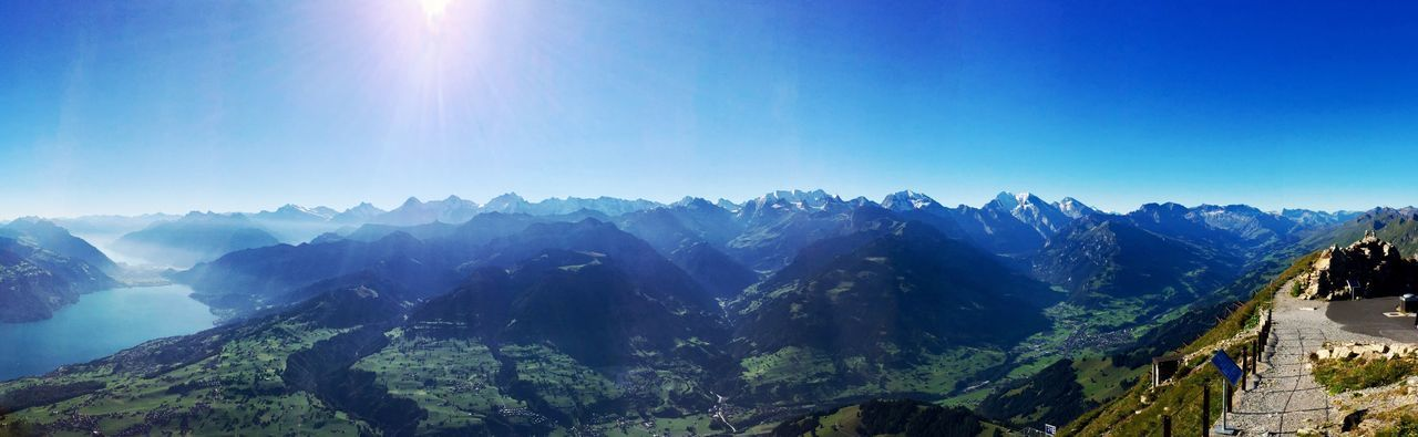 Mountain Swiss Mountains Swissalps Switzerland Alps Niesen Beauty In Nature Tranquility Majestic Sunlight Travel Destinations EyeEm Best Shots EyeEm Nature Lover Topofeurope Scenics Panoramic IPhoneography From My Point Of View picture from the top of the Niesen