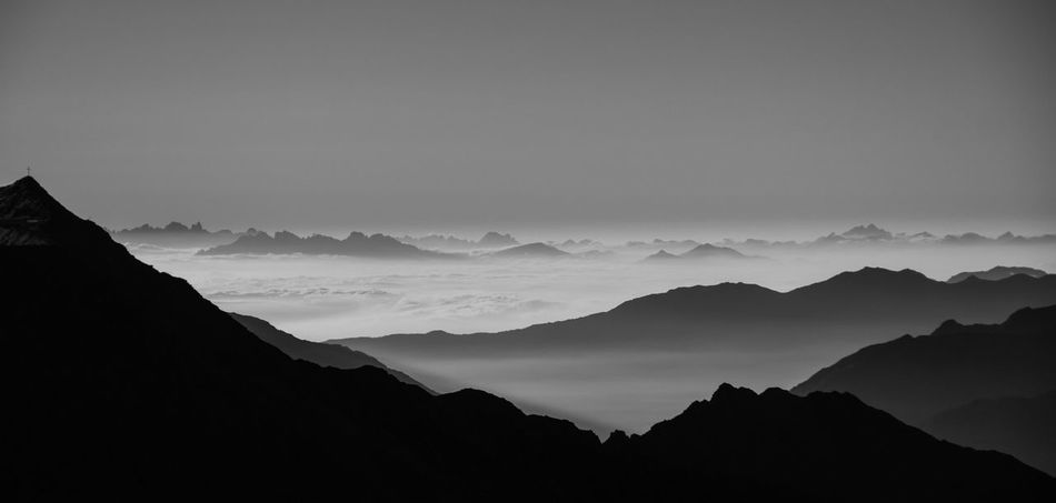 """""""morning glory"""" Beauty In Nature Black & White Blackandwhite Cloud - Sky Cloudporn Clouds And Sky Cloudscape Day Fog Hiking Landscape Monochrome Monochrome Photography Morning Mountain Mountain Range Mountains Nature No People Outdoors Scenics Starting A Trip Tranquil Scene Travel Traveling"""