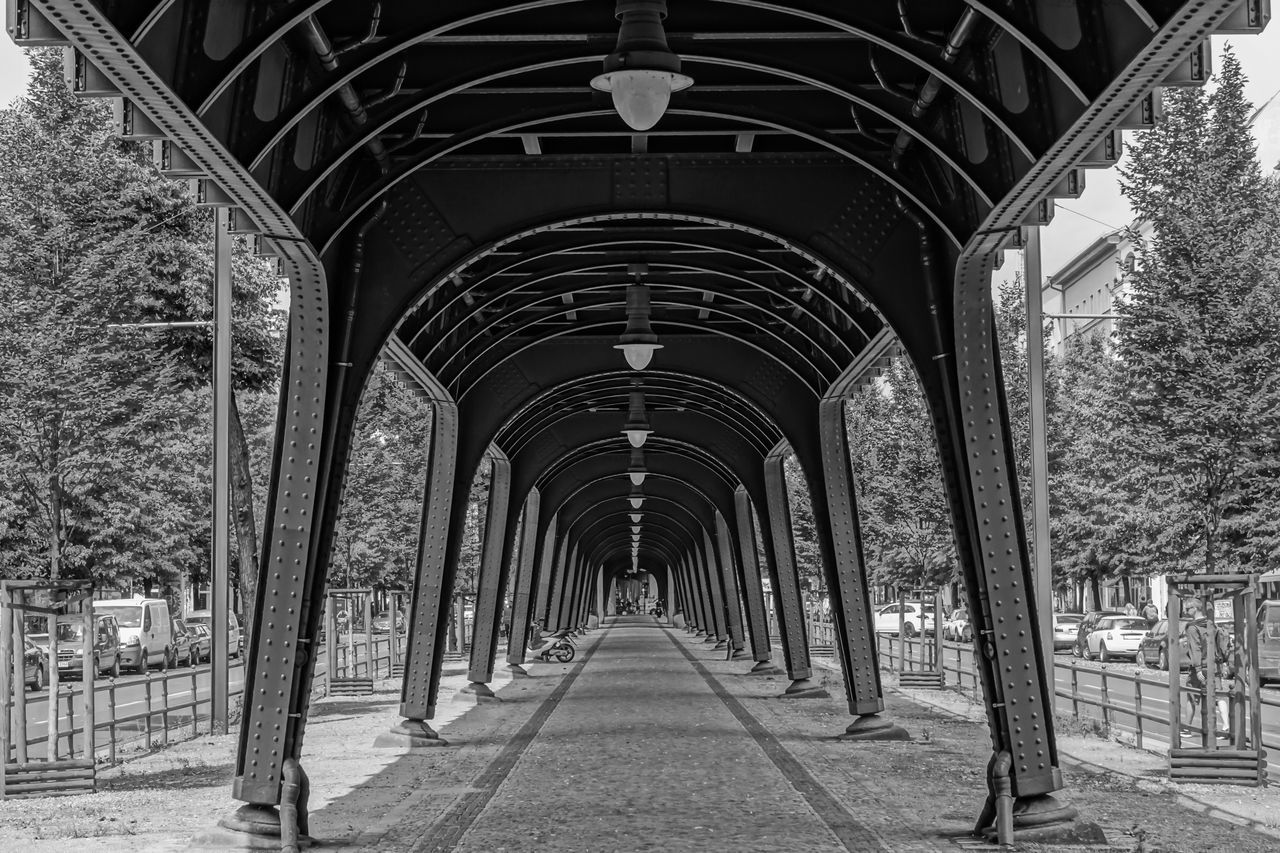 Arch Architectural Column Architecture B&w Black And White Built Structure Column Diminishing Perspective Empty Engineering In A Row Long Narrow No People Outdoors Prenzlauer Berg Schönhauser Allee The Way Forward U-Bahn Ubahn Vanishing Point Viaduct Viadukt Walkway