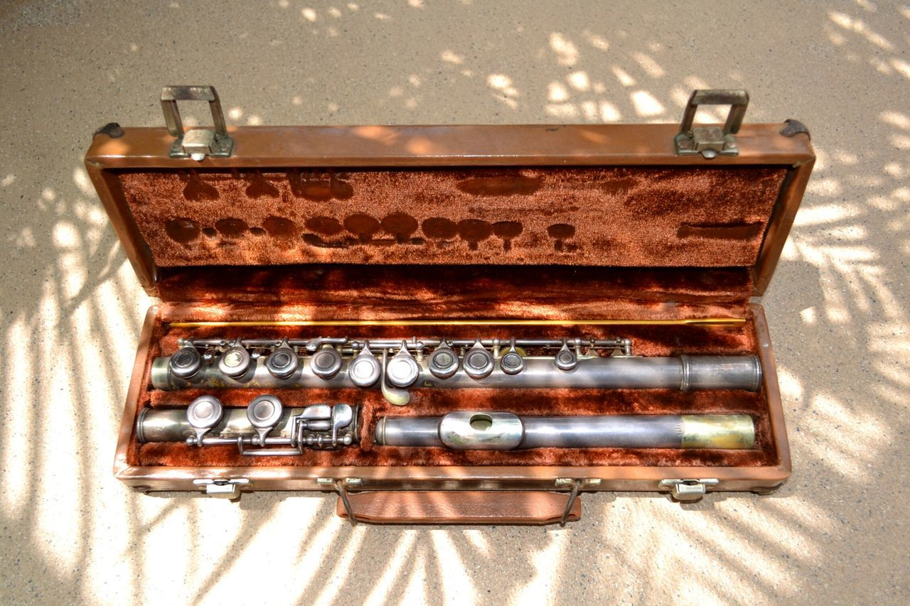 High Angle View Of Flute In Case