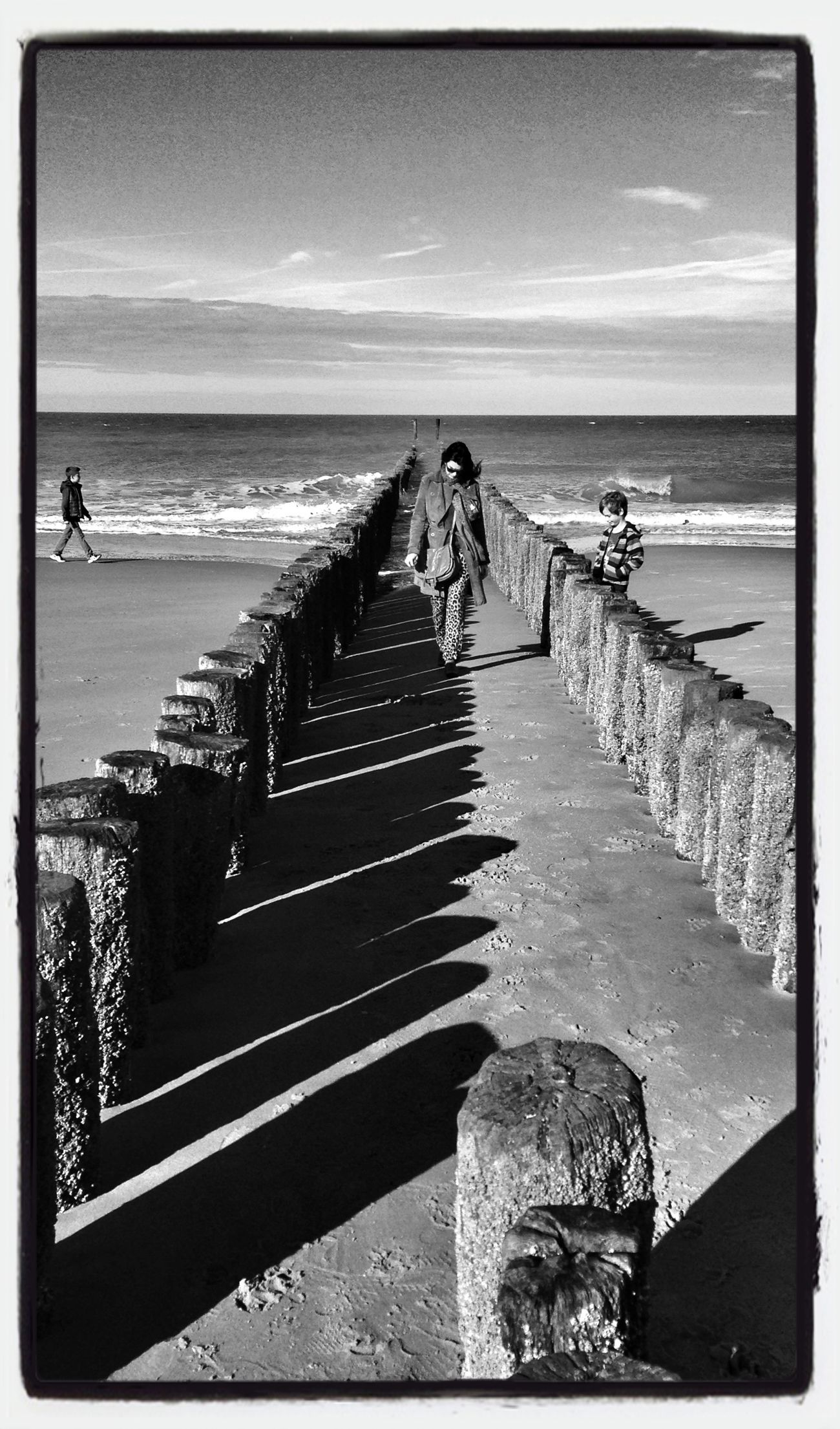 Beach Sea Blackandwhite