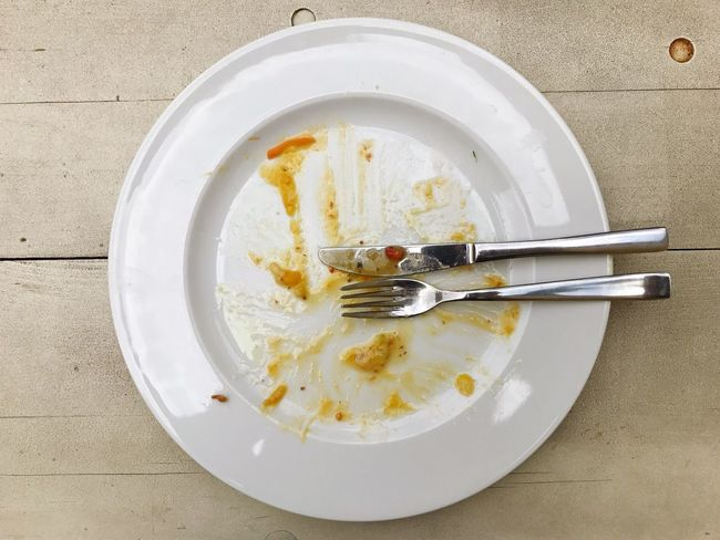Plate Empty Dishware Directly Above Food And Drink Food Fork High Angle View Leftovers No People Indoors  Close-up Freshness Eaten Day Ready-to-eat Empty Plate