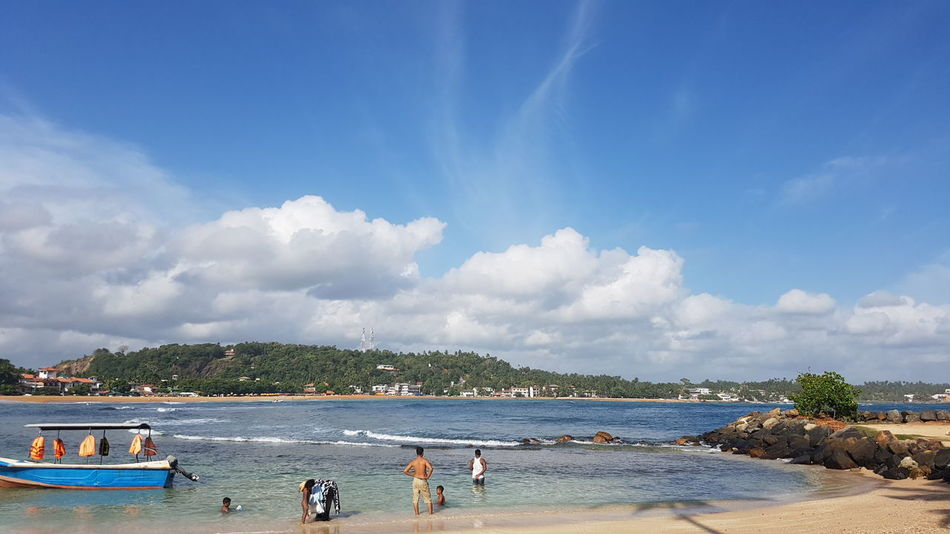 Unawatuna Boat Beach Nature Galle Sri Lanka Blue Sky Cloudy