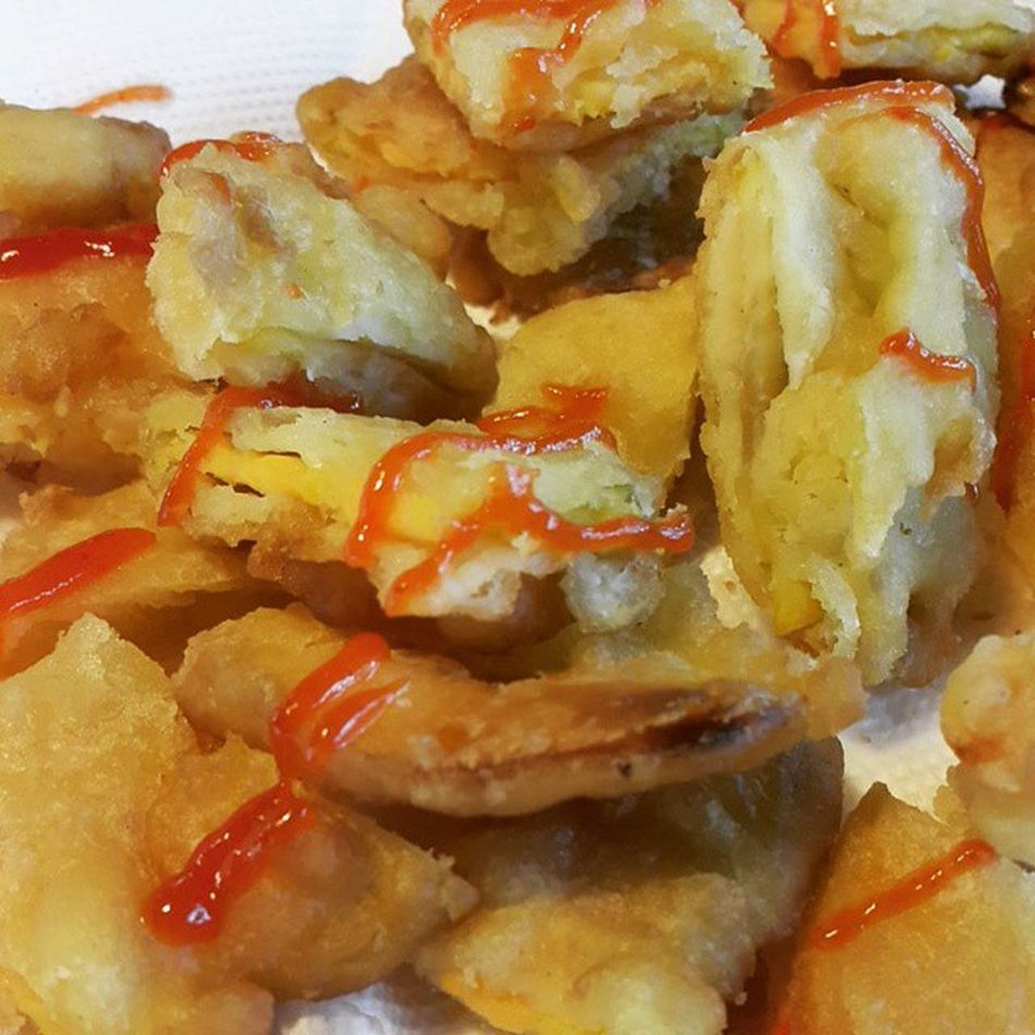 먹스타그램 튀김 고구마튀김 오징어튀김 아침 식사