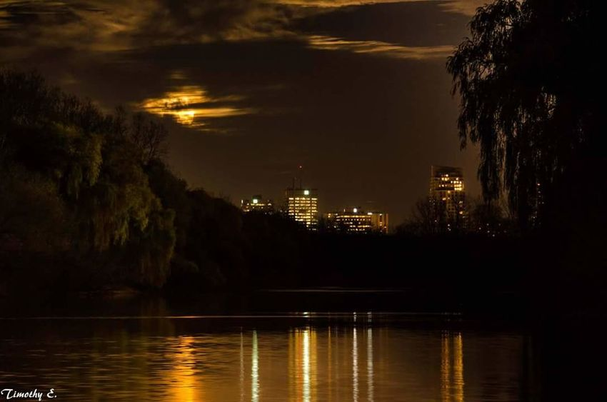 Super moon obscured by clouds Reflection Night Water Illuminated Moonlight Outdoors Water Reflections Cityscape Ontario Canada NikonLife Nikon D7000 Canada Coast To Coast London Ontario Canada