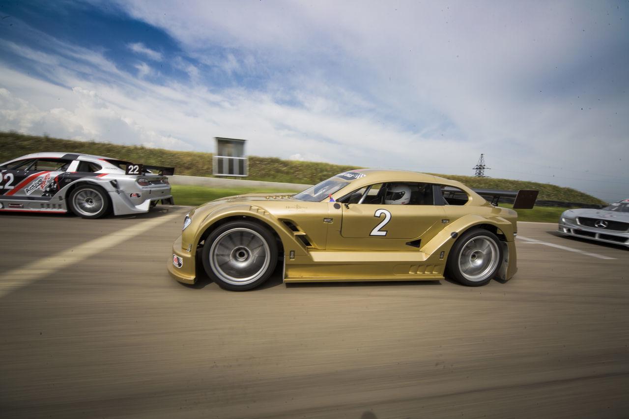 Racecar Mitjet Speed Sport Real People Back View Cars Wheels Road