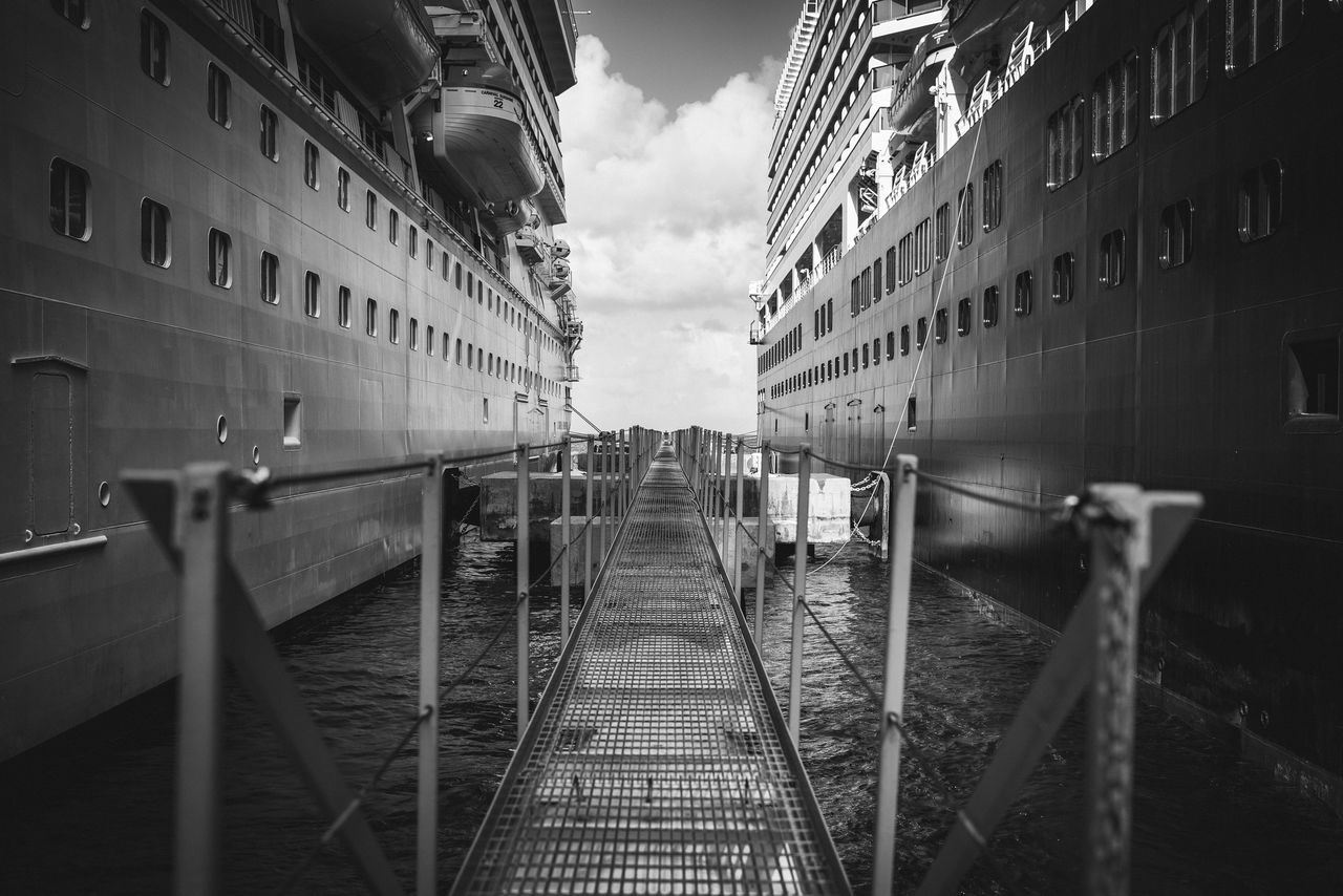 Bridge to Nowhere Architecture Blackandwhite Photography Building Exterior Built Structure Clouds Cruise Liner Cruise Ship Day Depth Of Field Holland American Lines Metal Structure Nikon D750 No People Outdoor Photography Outdoors Photographyisthemuse Ships Sky The Way Forward Travel Travel Photography Vacation Water Wide Angle