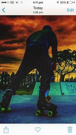 Rollerskate bauer quads skys dark people One Person Cloud - Sky Rollerskating Skatepark Photography