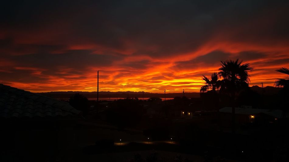 Tree Sunset Silhouette Dramatic Sky Nature Sky Cloud - Sky Night No People Outdoors Mountain Electricity Pylon