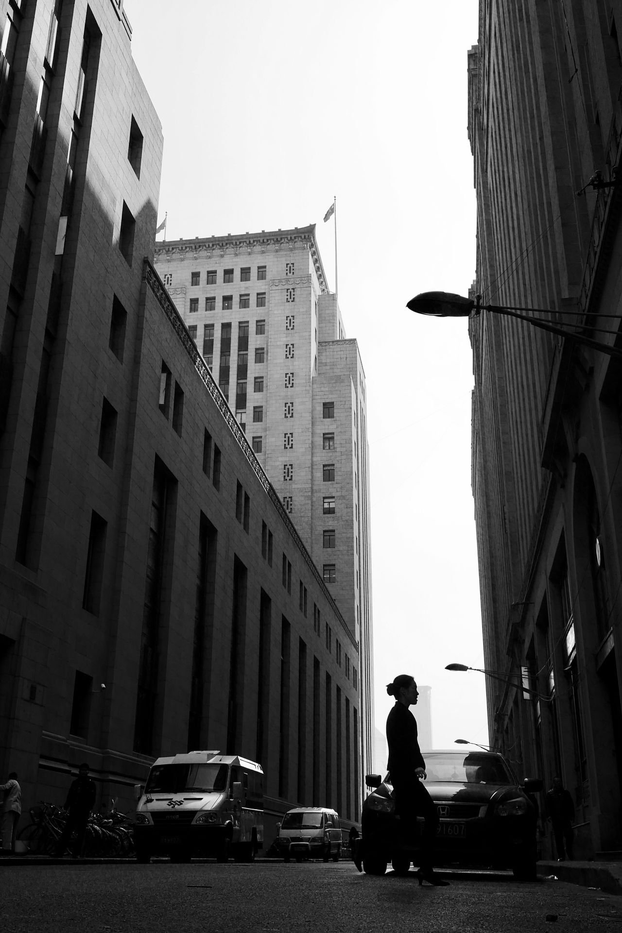 The bund in the morning Building Black And White Morning Shanghai Morning Silhouette Lady Street Photography Street Snapshoot City Life