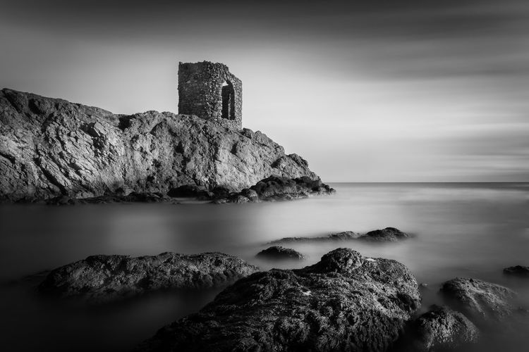 Lady's Tower in Elie, Fife, Scotland. Beauty In Nature Blackandwhite Day Horizon Over Water Long Exposure Nature No People Outdoors Rock - Object Rock Formation Scenics Sea Sky Smooth Tower Tranquil Scene Tranquility Water