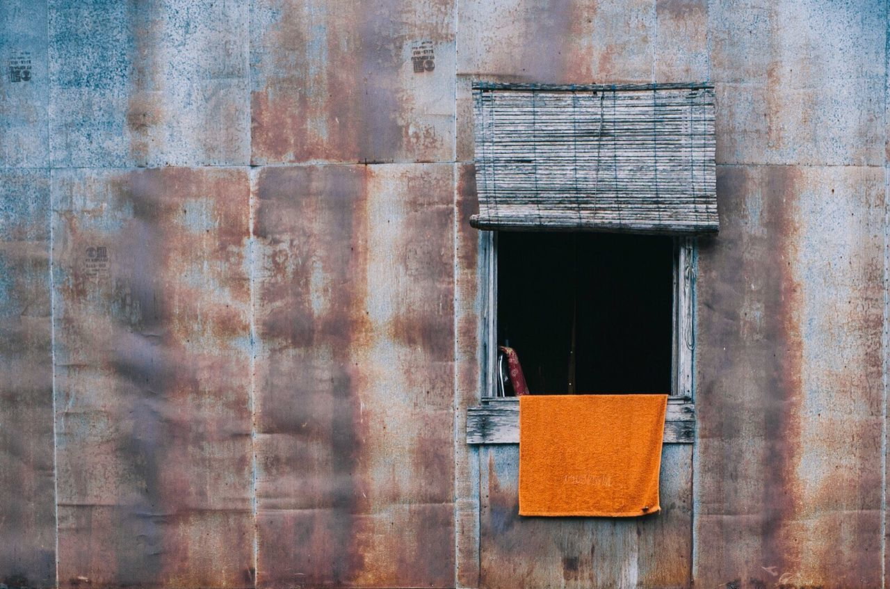 Orange Towel Built Structure No People Day Outdoors Architecture Building Exterior Close-up Window Rusty