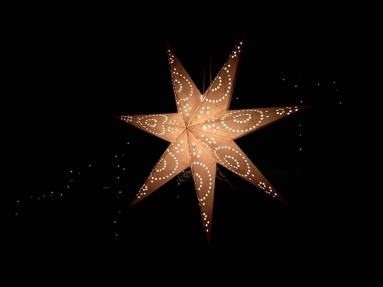 star shape, christmas, christmas decoration, celebration, night, illuminated, tree topper, black background, christmas ornament, no people, christmas lights, close-up, indoors