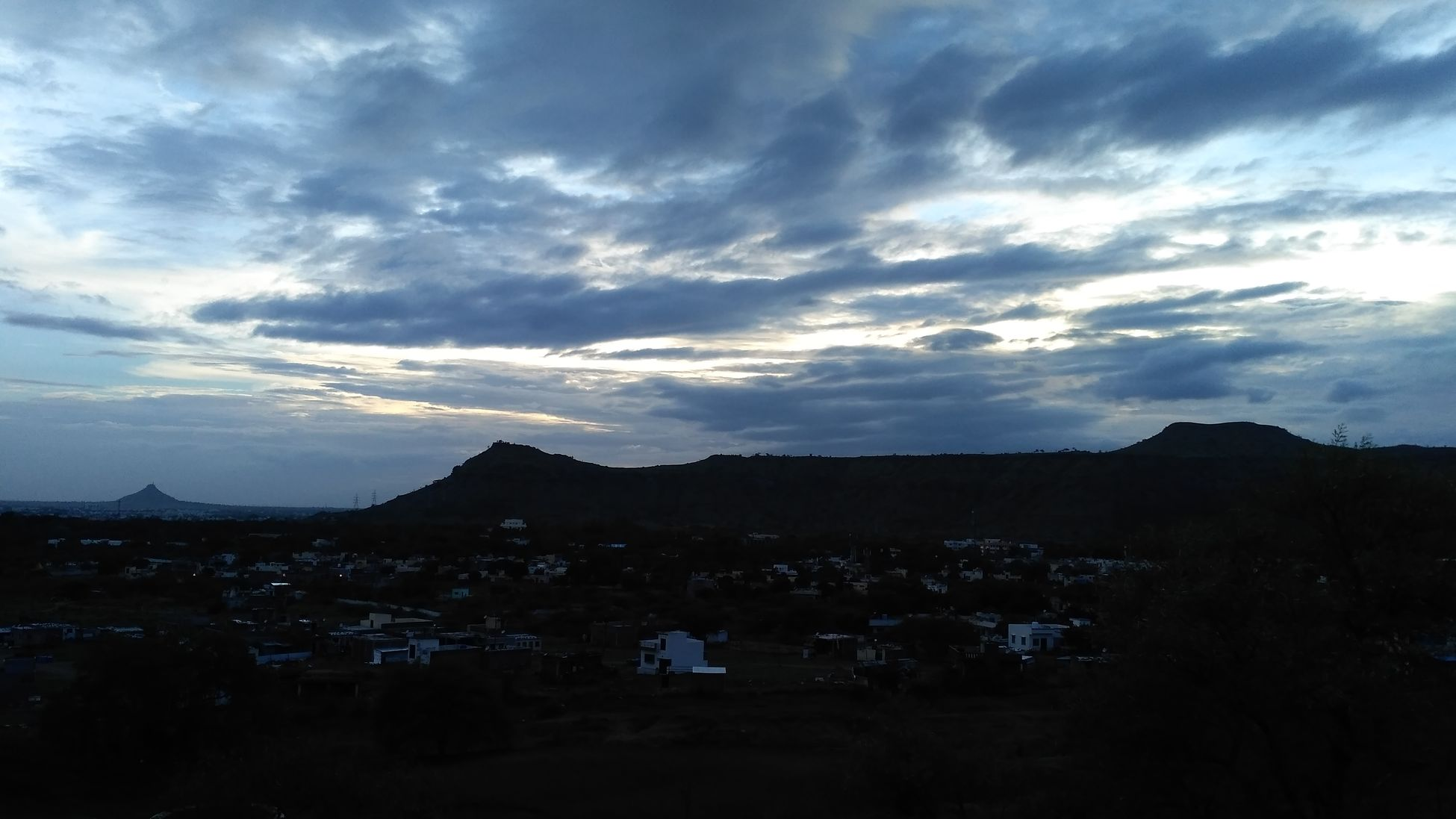 At Himmat Bag Hill Area High Angle View Rainy Day Sundown Skyview Cloudy Skies