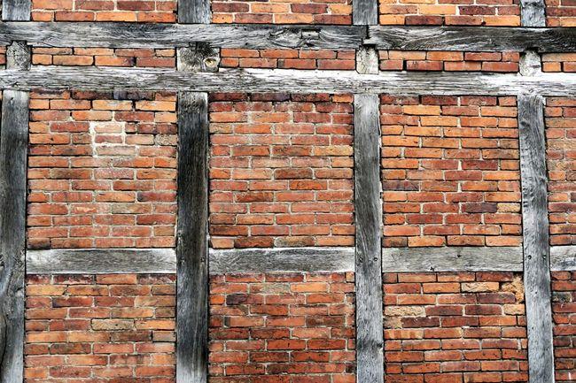 housewall of half-timbered and brickstones. Half-timbered House Half-timbered Half-timbered Houses Halftimbered Bricks Brick Background Brickswork Brickporn Brickstones Brick Wall Background Brick Brandenburg Fassade