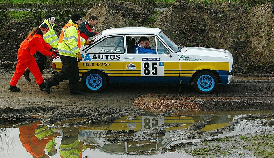 Rally Car Push Broken Down Fed Up