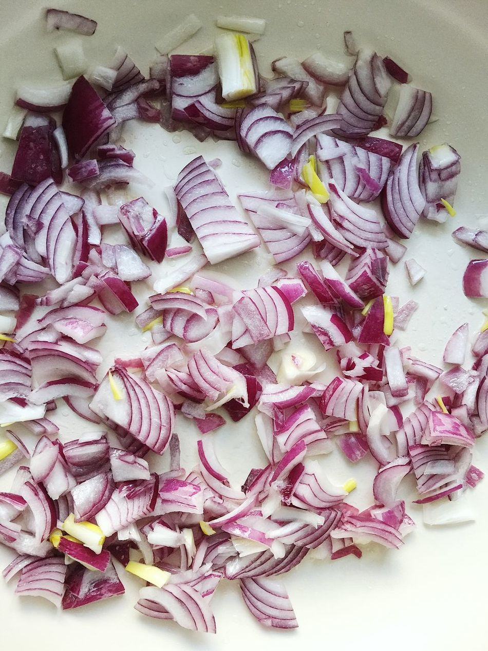 Cut red onion being fried on a frying pan Cooking Food Food And Drink Frying Pan Onion Red Onion