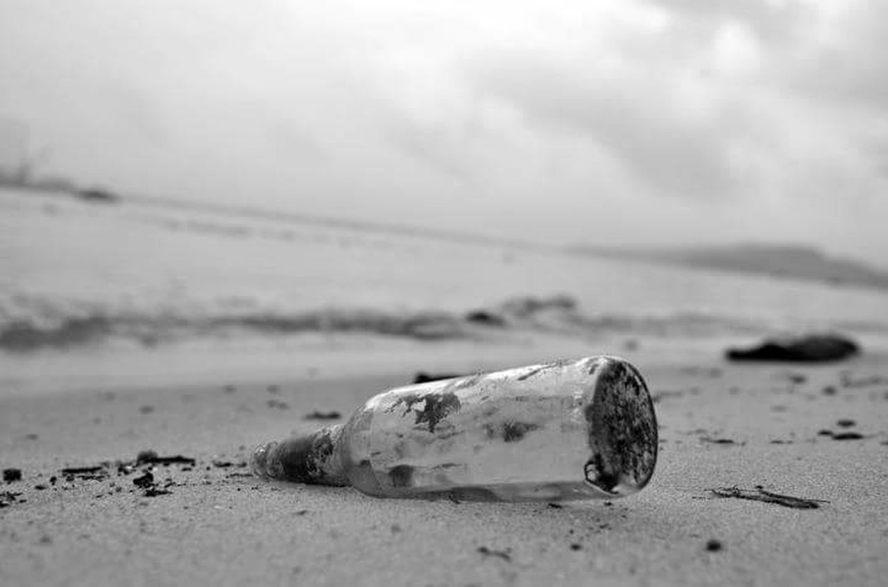 Beach Sand Abandoned Close-up Buried Bottle Bottle In The Sand B&w B&w Nature
