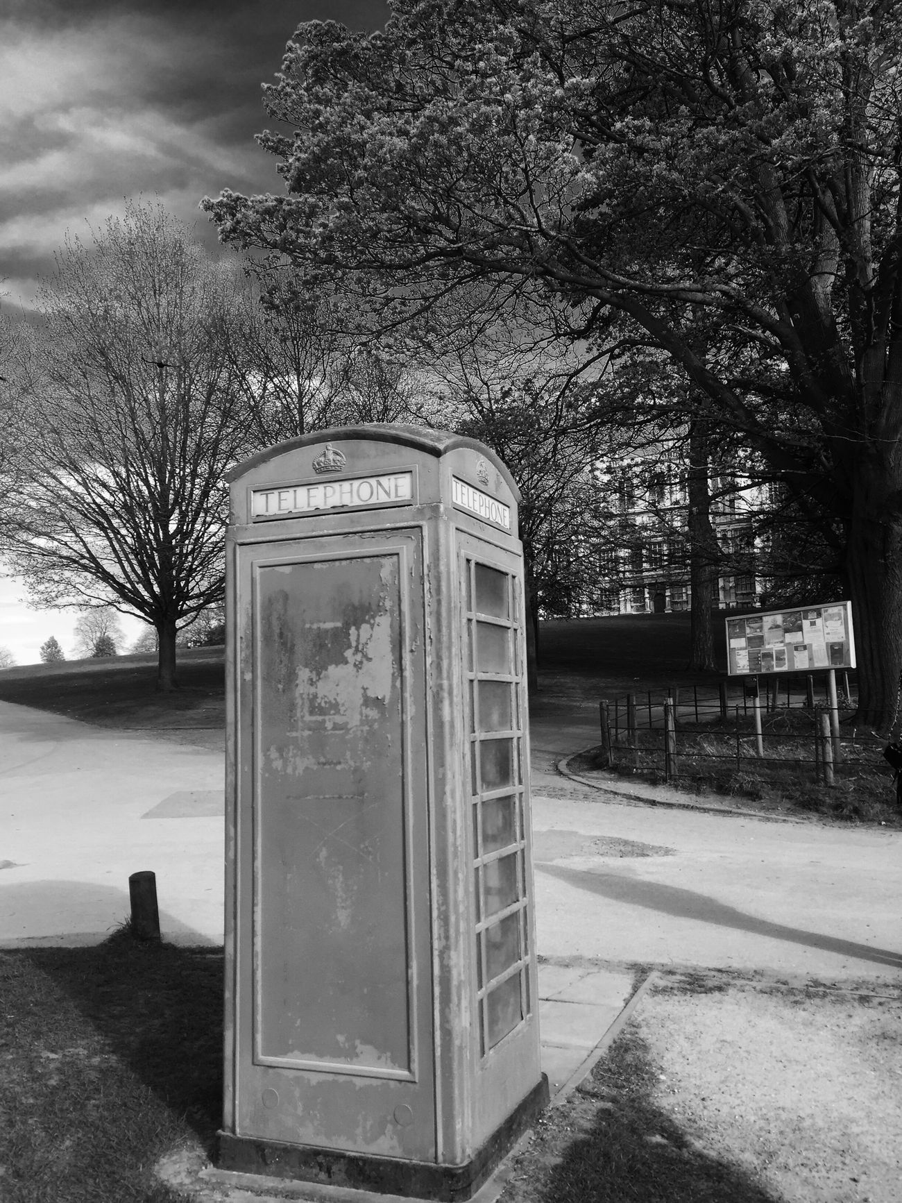 Communication Telephone Booth Pay Phone Old-fashioned Tree Outdoors Telephone Technology Architecture Sky Blackandwhite Blackandwhite Photography Red Phone Boxes Nottingham