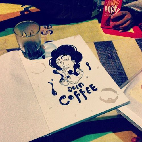 Join_coffee Tonight Black White A4 spidol marker