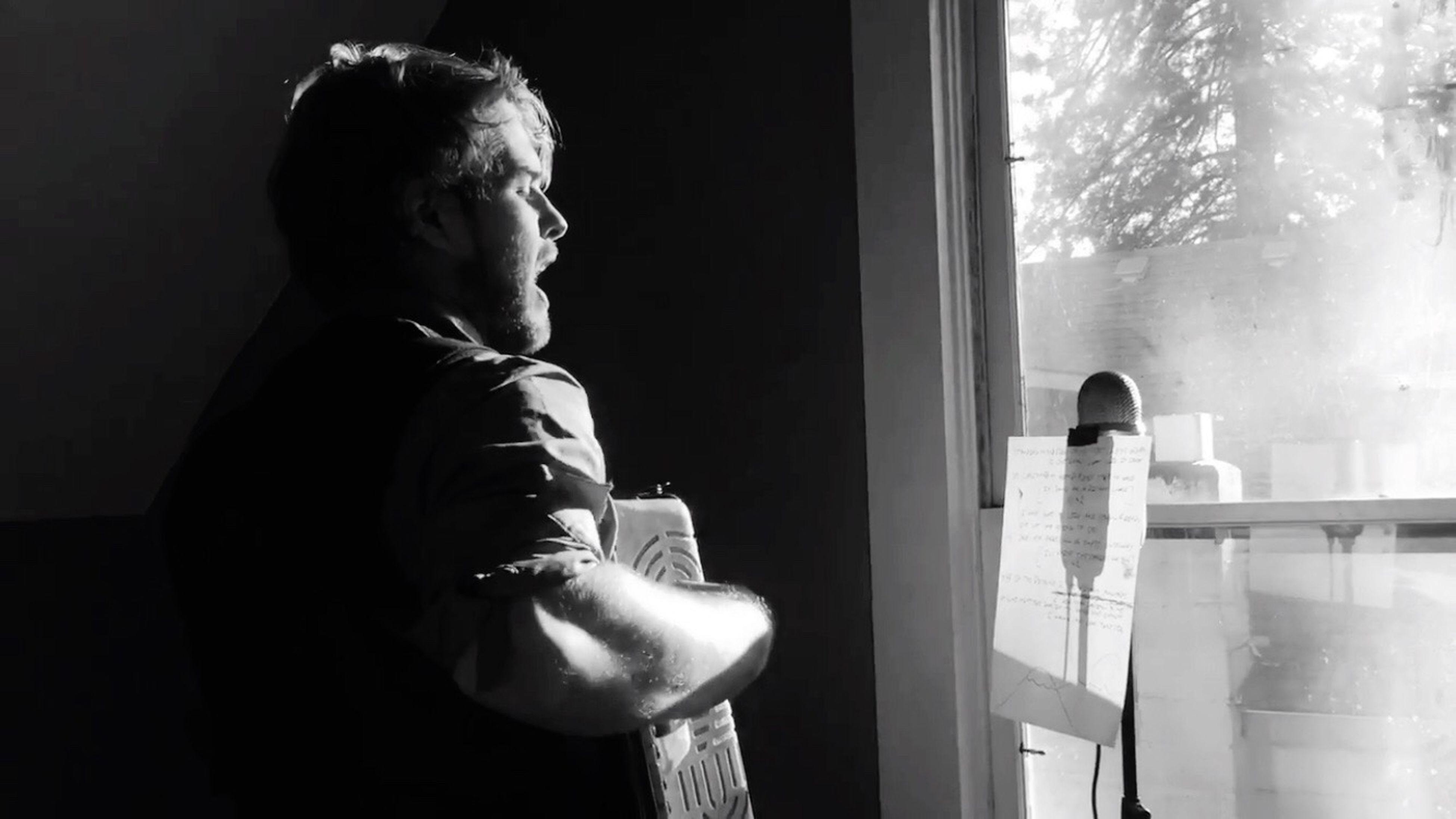 singing to the sunrise Strangely Looking Through Window Blackandwhite