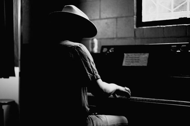 Cowboy SXSW Piano Black And White Portrait Music
