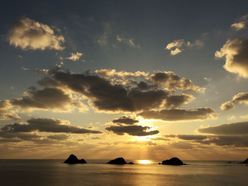 Sunset Sea Water Sky Cloud - Sky Beauty In Nature Nature Scenics Tranquil Scene Sunlight Idyllic Tranquility No People Nautical Vessel Outdoors Sunbeam Horizon Over Water Beach Day Kagoshima Amami Island