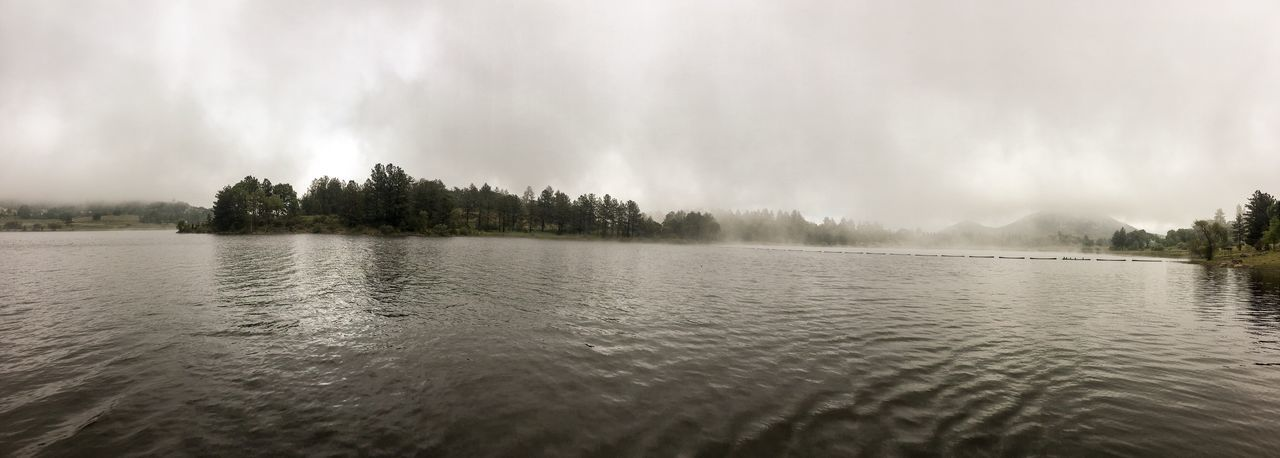 Panoramic Day Lake Tranquil Scene Tranquility Tree Sky Water Nature Beauty In Nature Scenics No People Cloud - Sky Rippled Outdoors Waterfront Fog Foggy Foggy Morning Foggy Weather