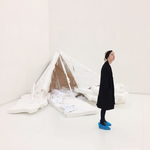 Abstract Abstract Photography Adult Adults Only Bisky Blue Shoes Day Full Length Installation Art Norbert Bisky One Person Outdoors People Tent White White Background White Room Young Adult