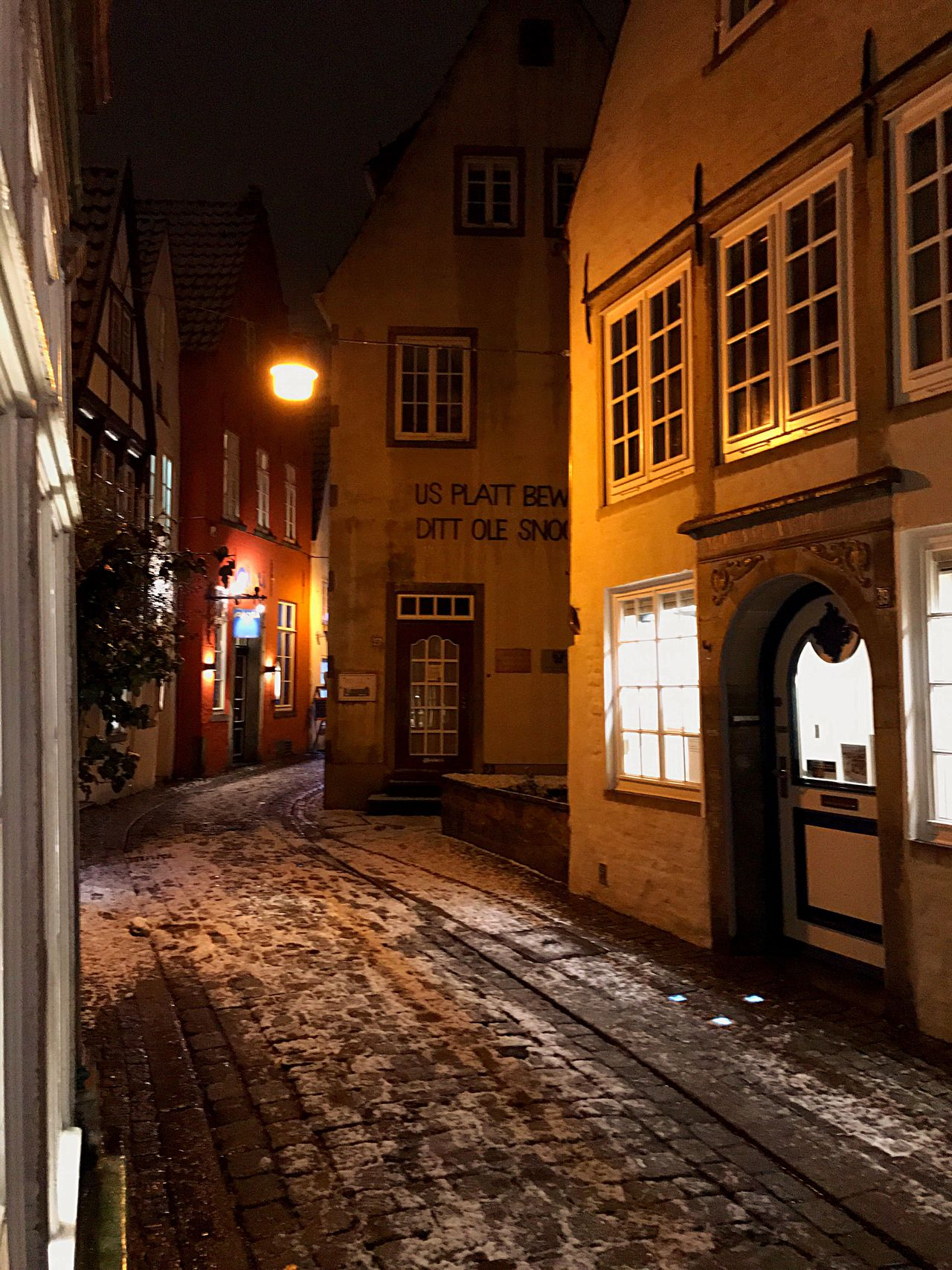 Architecture Night Illuminated City Residential Building Building Exterior Snow Medieval Bremen Germany Light Light And Shadow Alleyway Alley Europe Eurotrip Tourism Schnoor Outdoors