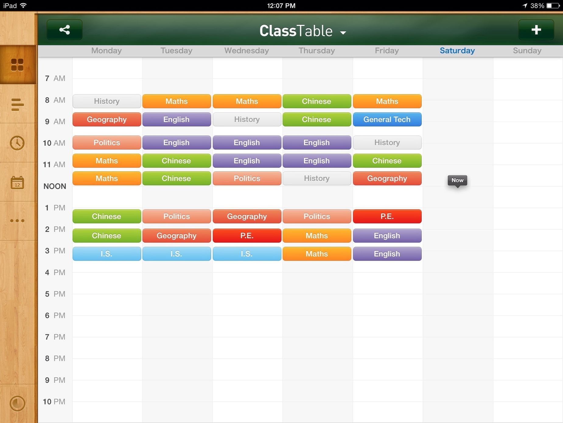 A rearranged and colored classtable of mine. New Term Classtable Schedule What about yours?