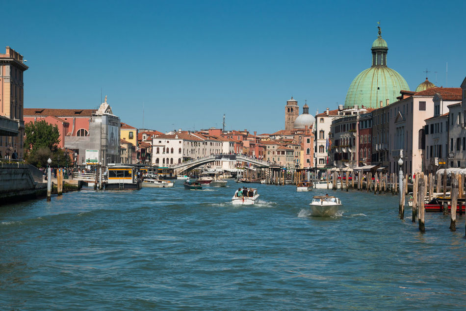 Architecture Building Exterior Built Structure Canal City Clear Sky Day Dome Gondola - Traditional Boat Italy Mode Of Transport Nautical Vessel No People Outdoors Place Of Worship Religion Sky Spirituality Transportation Travel Destinations Venice, Italy Water Waterfront