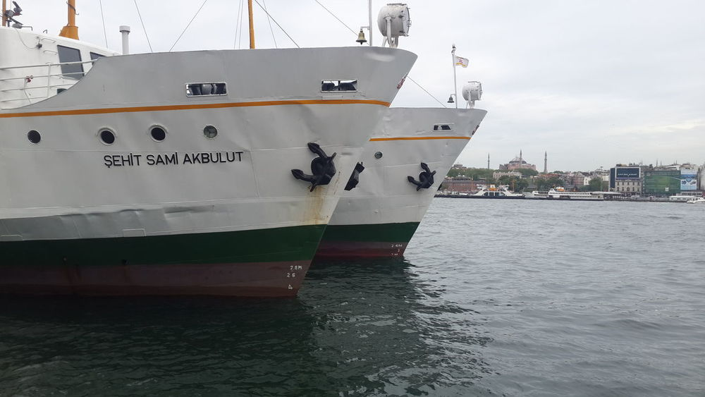 Ayasofya (Hagia Sophia) Boarding Commercial Dock Day Front View Golden Horn Harbor Industry Istanbul Mode Of Transport Moored Nautical Vessel No People Outdoors Sea Shipping  Tourism Tourist Attractions Transportation Travel Travel Destinations Turkey Water