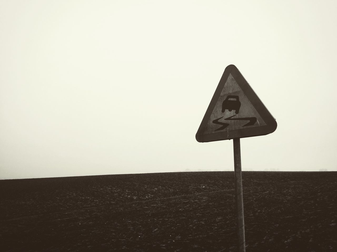 Road Sign Monochrome Shootermag Winter Beauty In Nature Weather Field