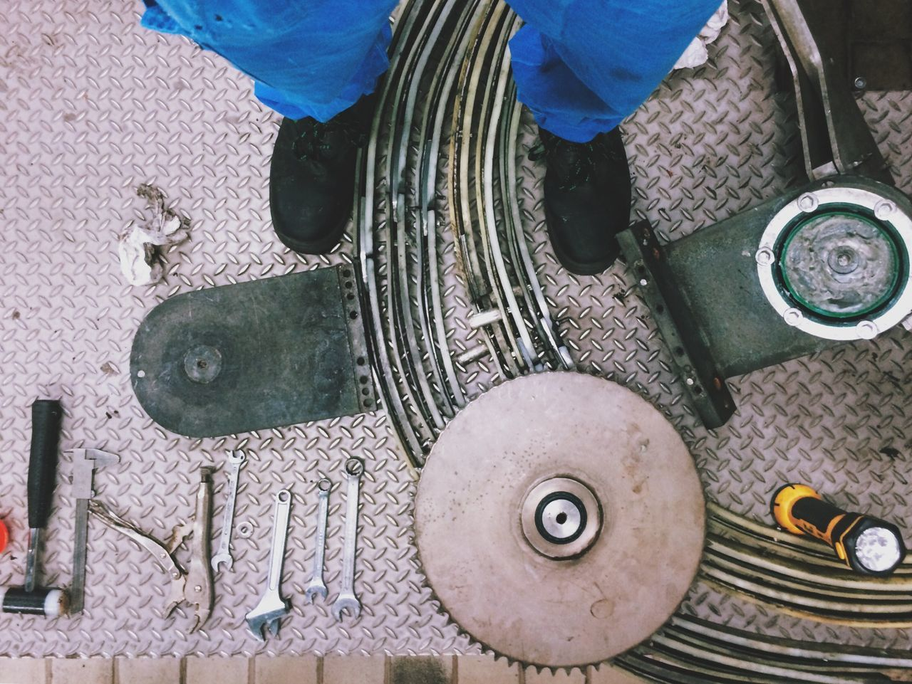Beautiful stock photos of metal, Auto Repair Shop, Directly Above, Flashlight, Flooring