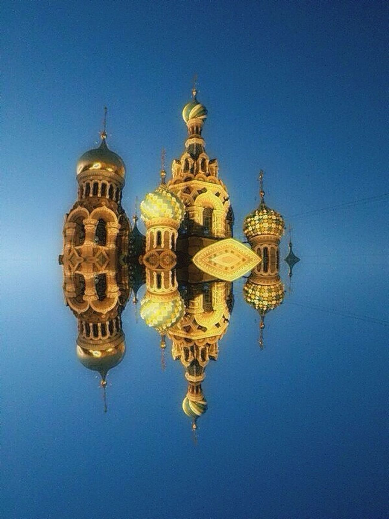 Stpetersburg Architecture Built Structure Reflection Building Exterior Religion Spirituality Flaying Reflection Russia Traveling Travel Place Of Worship Yellow Low Angle View Gold Colored Symmetry Dome Waterfront Travel Destinations Church Water Standing Water Day Vibrant Color