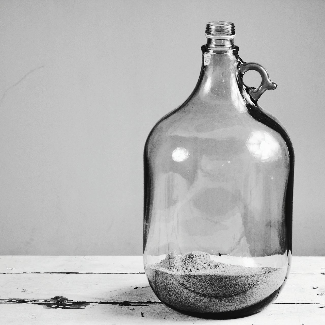 Black And White Bottle Glass Wood Blackandwhite Photography Sand Everything In Its Place