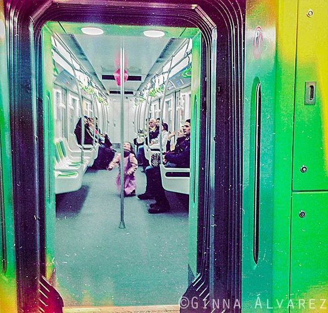 Subway Balloon Peeking Girl Red IPhoneography Spontaneous Green City Life Ginnaalvarez