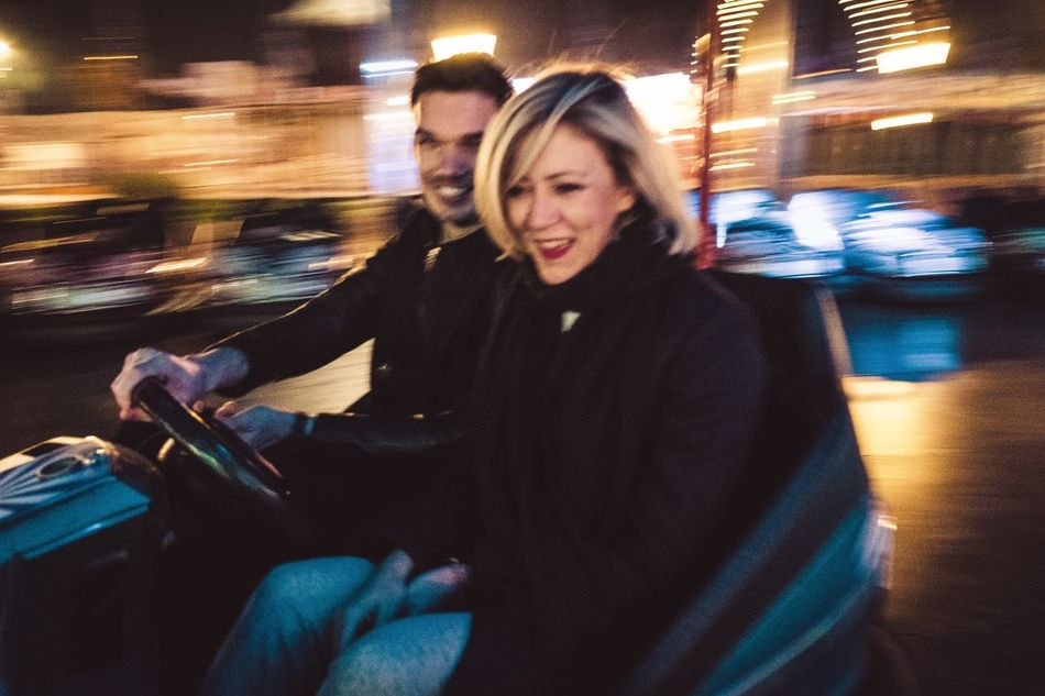 Night Happiness Blurred Motion Smiling Togetherness city City Autoscooter Prater Scooter
